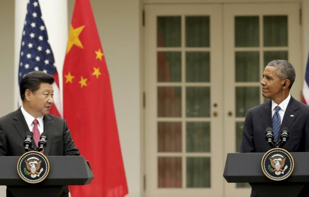 U.S. President Barack Obama and China's President Xi Jinping hold a joint news confernce in the Rose Garden of the White House in Washingto