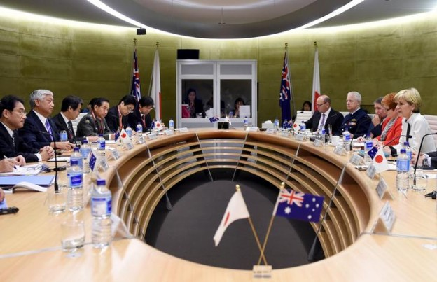Australian Foreign Minister Julie Bishop (R) sits with Australia's Defence Minister Marise Payne (2nd R) opposite Japan's Defense Minister Gen Nakatani (2nd L) and Japan's Foreign Affairs Minister Fumio Kishida (L) as they hold bilateral talks in Sydney, Australia, November 22, 2015.    REUTERS/Peter Parkes/Pool
