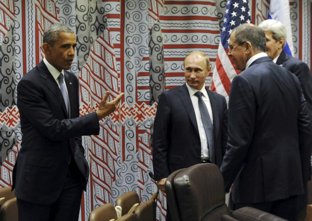 "Russia's President Vladimir Putin (2nd L), Foreign Minister Sergei Lavrov (R, front), U.S. President Barack Obama (L) and U.S. Secretary of State John Kerry attend a meeting on the sidelines of the United Nations General Assembly in New York, September 28, 2015. Mikhail Klimentyev/RIA Novosti/Kremlin/ via REUTERS ATTENTION EDITORS - THIS IMAGE HAS BEEN SUPPLIED BY A THIRD PARTY. IT IS DISTRIBUTED, EXACTLY AS RECEIVED BY REUTERS, AS A SERVICE TO CLIENTS. EDITORIAL USE ONLY.  SEARCH ""ALEPPO TIMELINE"" FOR THIS STORY - RTX2UYYW"