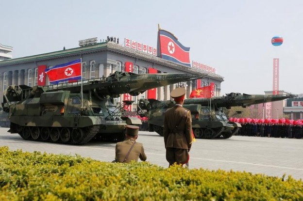 Missiles are driven past the stand with North Korean leader Kim Jong Un and other high ranking officials during a military parade marking the 105th birth anniversary of North Korea's founding father, Kim Il Sung, in Pyongyang, April 15, 2017.     REUTERS/Sue-Lin Wong - RC1A924D5C00