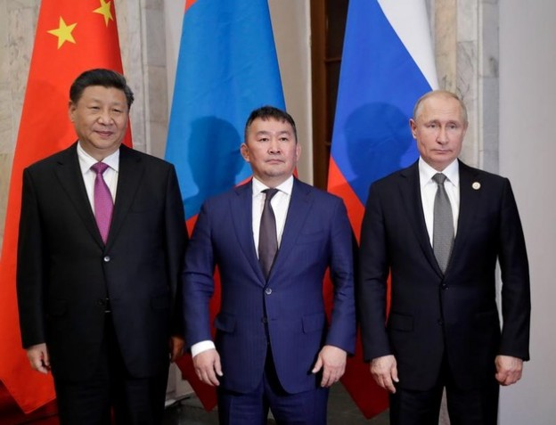 Chinaís President Xi Jinping, Mongolia's President Khaltmaagiin Battulga and Russiaís President Vladimir Putin pose for a photo as they attend a†meeting†on the sidelines of the Shanghai Cooperation Organisation (SCO) summit in Bishkek, Kyrgyzstan June 14, 2019. Sputnik/Mikhail Metzel/Kremlin via REUTERS ATTENTION EDITORS - THIS IMAGE WAS PROVIDED BY A THIRD PARTY.     TPX IMAGES OF THE DAY - RC191333BDD0