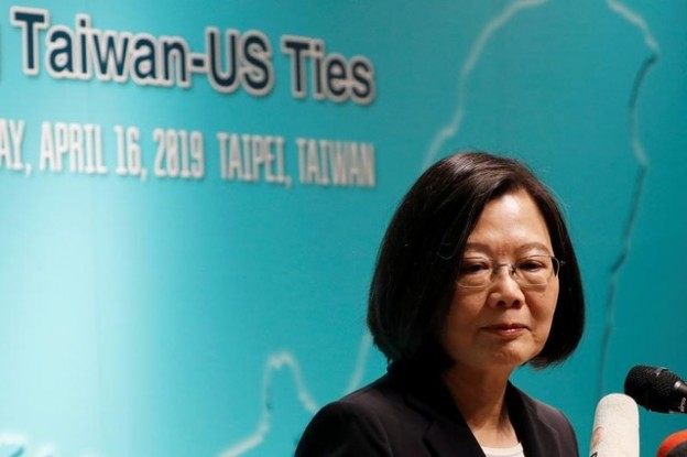 Taiwan's President Tsai Ing-wen speaks during an event that marks the 40th anniversary of the Taiwan Relations Act, in Taipei, Taiwan April 16, 2019. REUTERS/Tyrone Siu - RC13E6EA2EC0