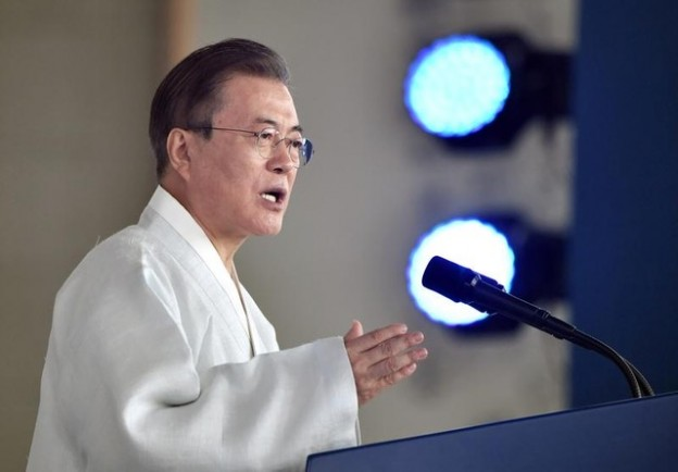 South Korean President Moon Jae-in delivers a speech during a ceremony to mark the 74th anniversary of Korea's liberation from Japan's 1910-45 rule, at the Independence Hall of Korea in Cheonan on August 15, 2019. Jung Yeon-je/Pool via REUTERS - RC1D71007CE0