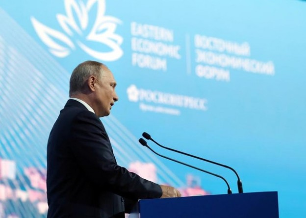 Russian President Vladimir Putin delivers a speech during a plenary session of the Eastern Economic Forum in Vladivostok, Russia September 5, 2019. Sputnik/Mikhail Klimentyev/Kremlin via REUTERS  ATTENTION EDITORS - THIS IMAGE WAS PROVIDED BY A THIRD PARTY. - RC1516410640