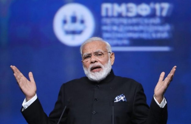 Indian Prime Minister Narendra Modi gestures during a session of the St. Petersburg International Economic Forum (SPIEF), Russia, June 2, 2017. REUTERS/Mikhail Metzel/TASS/Host Photo Agency/Pool  EDITORIAL USE ONLY. - UP1ED6213AQBI