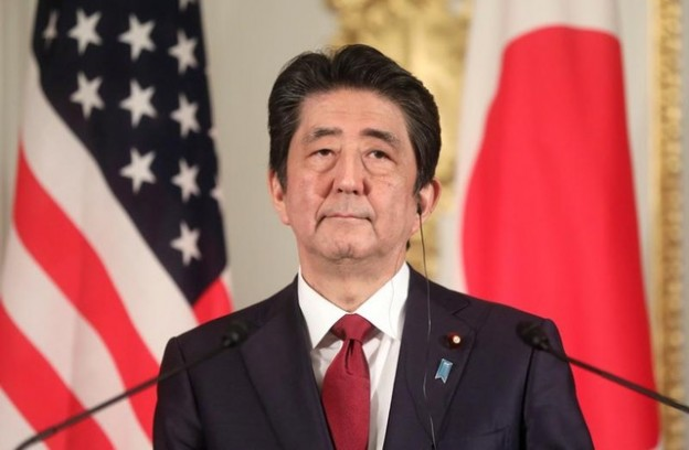 Japan's Prime Minister Shinzo Abe holds a joint news conference with U.S. President Donald Trump (not pictured), at Akasaka Palace in Tokyo, Japan May 27, 2019. REUTERS/Jonathan Ernst - RC1951E88BE0