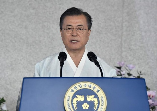South Korean President Moon Jae-in delivers a speech during a ceremony to mark the 74th anniversary of Korea's liberation from Japan's 1910-45 rule, at the Independence Hall of Korea in Cheonan on August 15, 2019. Jung Yeon-je/Pool via REUTERS - RC1CFC7892F0