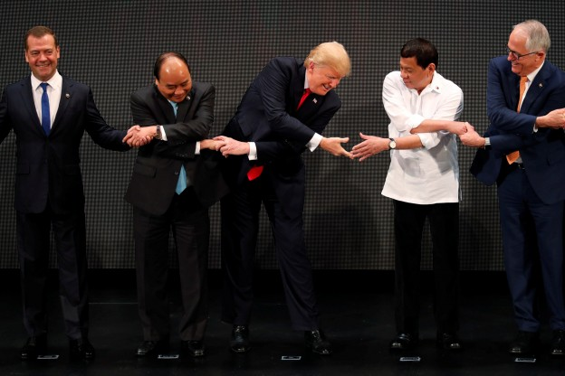 U.S. President Donald Trump participates in the opening ceremony of the ASEAN Summit in Manila, Philippines November 13, 2017. REUTERS/Jonathan Ernst - RC16B39CCC10