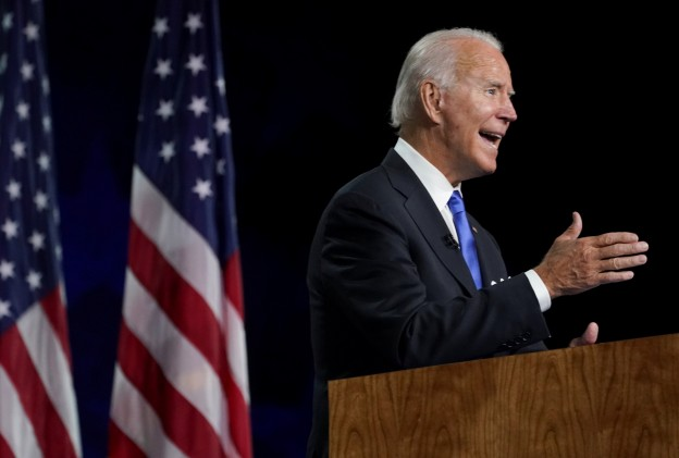 Former U.S. Vice President Joe Biden accepts the 2020 Democratic presidential nomination during a speech delivered for the largely virtual 2020 Democratic National Convention from the Chase Center in Wilmington, Delaware, U.S., August 20, 2020. REUTERS/Kevin Lamarque - RC24II9P2XWW