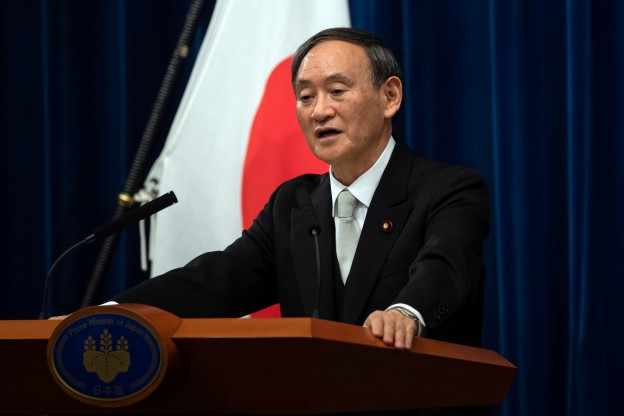 Yoshihide Suga speaks during a news conference following his confirmation as Prime Minister of Japan in Tokyo, Japan September 16, 2020. Carl Court/Pool via REUTERS - RC2PZI9J6OT0