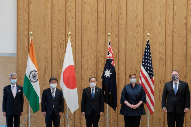 India's Foreign Minister Subrahmanyam Jaishankar, Japan's counterpart Toshimitsu Motegi, Japan's Prime Minister Yoshihide Suga, Australian Foreign Minister Marise Payne and U.S. Secretary of State Mike Pompeo pose for a picture before the meeting at the prime miniter's office in Tokyo, Japan October 6, 2020.  Nicolas Datiche/Pool via REUTERS - RC2UCJ9QLAVL